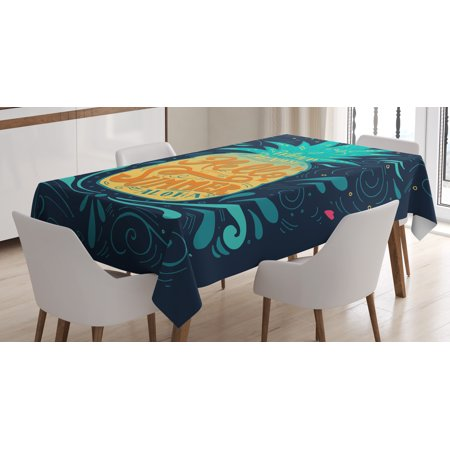 Heart Shape Drop (Tropical Tablecloth, Hello Summer Quote Pineapple with Hearts Swirls and Teardrop Shapes Background, Rectangular Table Cover for Dining Room Kitchen, 60 X 90 Inches, Multicolor, by Ambesonne )