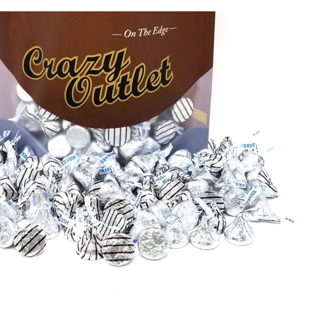 Hershey's Kisses Hugs White Crème and Kisses Milk Chocolate, Silver Brown Stripe Foils, Bulk, 3Lbs (Gold Hershey Kisses In Bulk)
