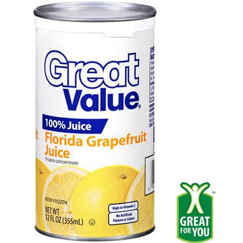 Great Value 100% Florida Grapefruit Juice, 12 Oz