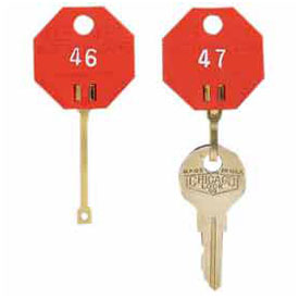 MMF Self-Locking Octagonal Key Tags, Tags 21-40, Red, Lot of 1 by MMF INDUSTRIES