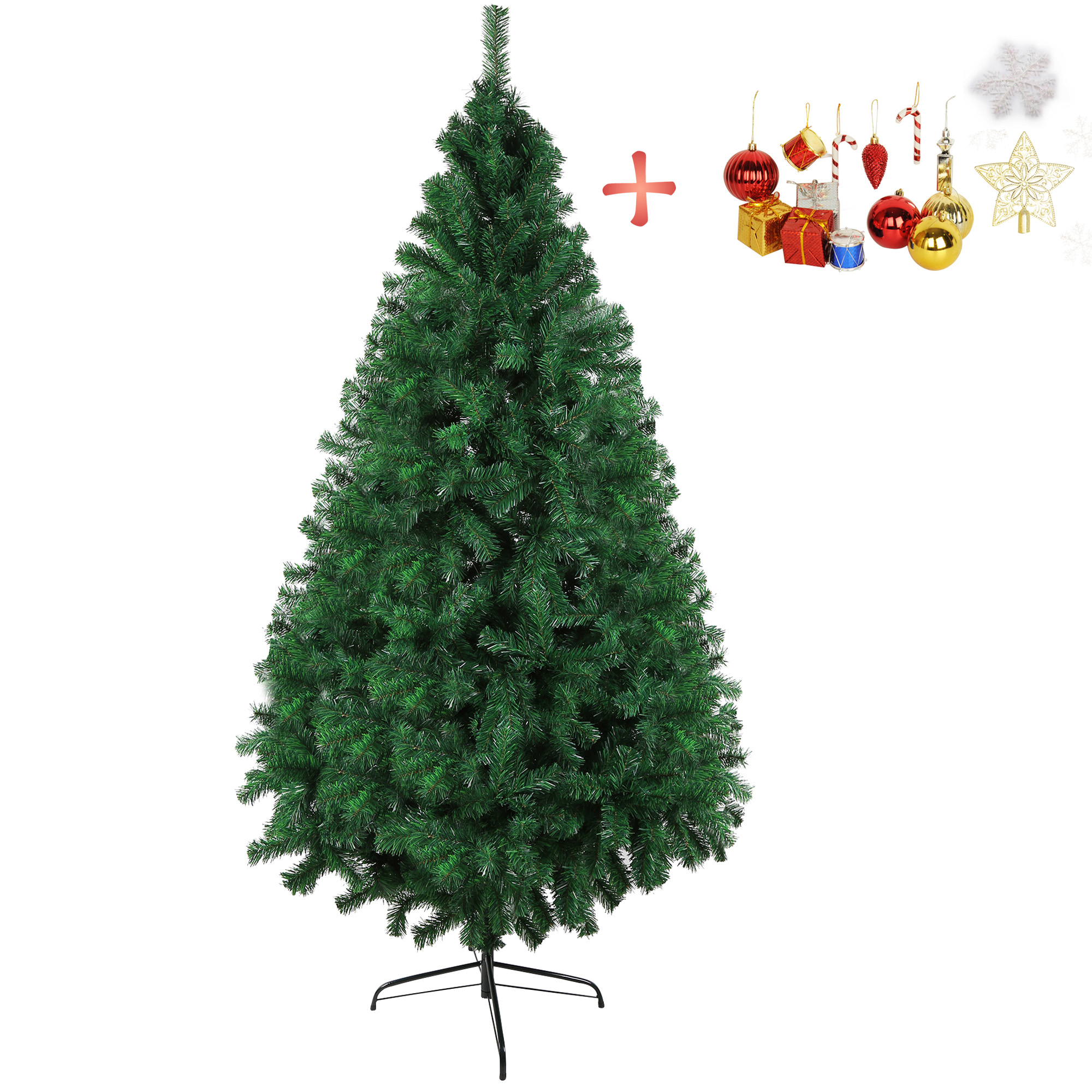 Karmas Product 7 FT Christmas Pine Tree Artificial Fake Xmas Tree with Solid Metal Stand & Decoration for Festival Party Holiday decorations,Green