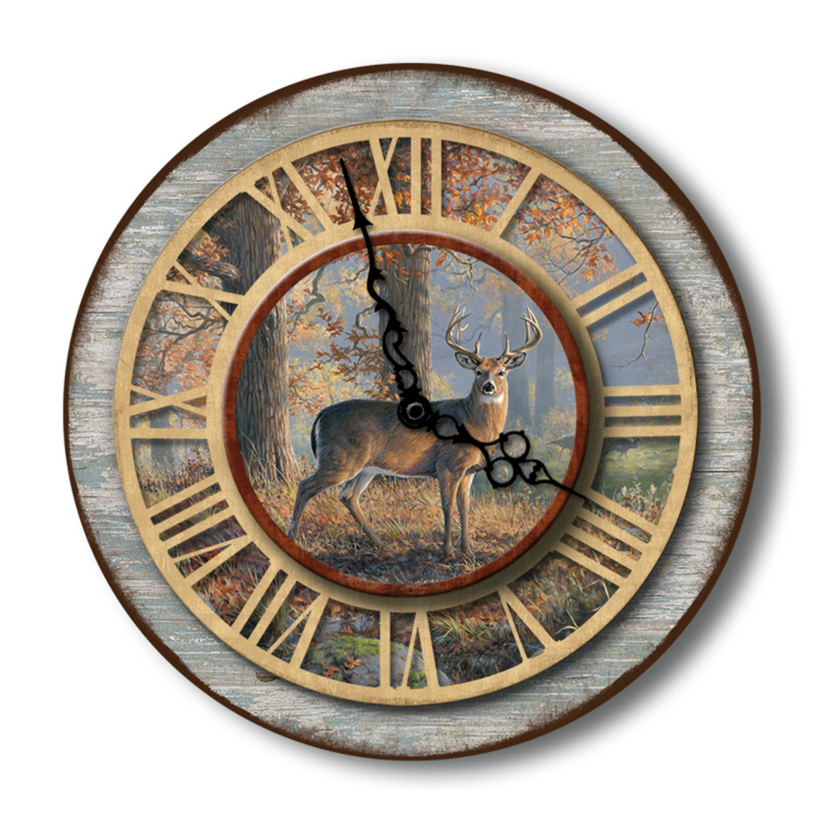 Buck Deer Hunter Woodland Legends Battery Operated 3-D Wood 16 Inch Wall Clock