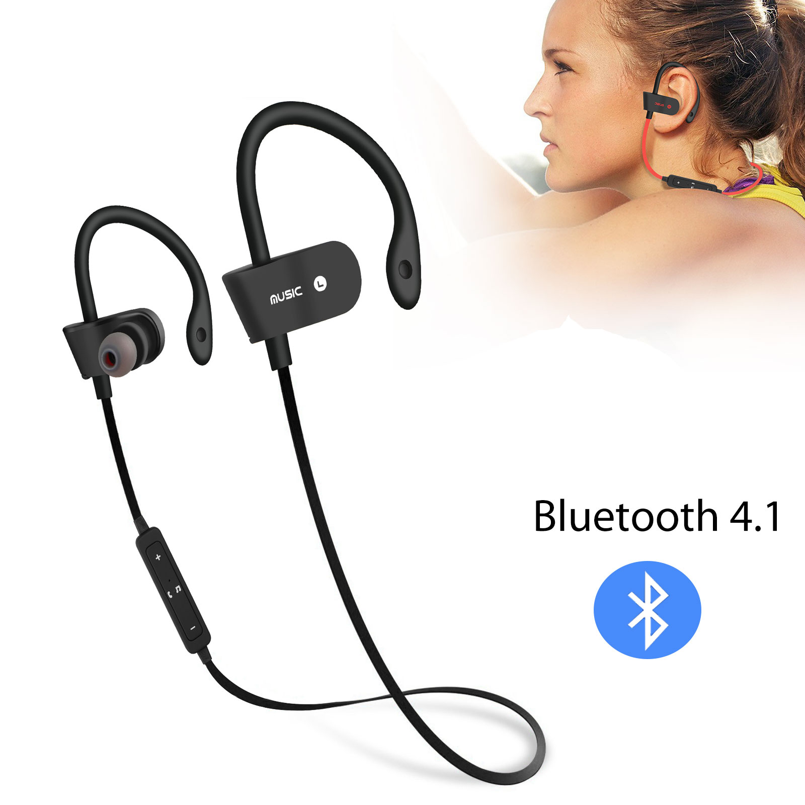 Wireless Bluetooth Earbuds, EEEKit Universal Wireless Bluetooth 4.1 Earphones HD Stereo In-Ear Headset Sport Neckband Headphone Hands-Free with Built-in Mic