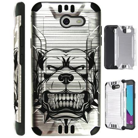 For Samsung Galaxy J3 Emerge / J3 Mission / J3 Luna Pro / Amp Prime 2 / Express Prime 2 / J3 (2017) / Sol 2 Case Brushed Metal Texture TPU Metallic Guard Phone Cover (Mad Dog Silver)