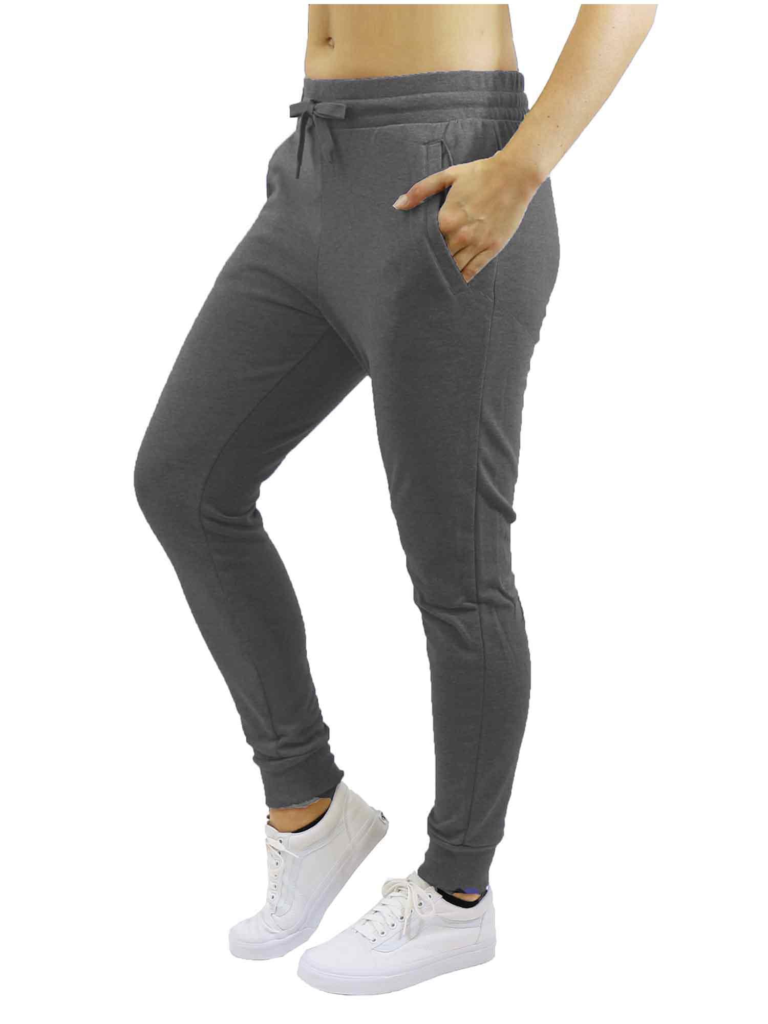 Womens Fleece Jogger Sweatpants With Zipper Pockets - SLIM FIT