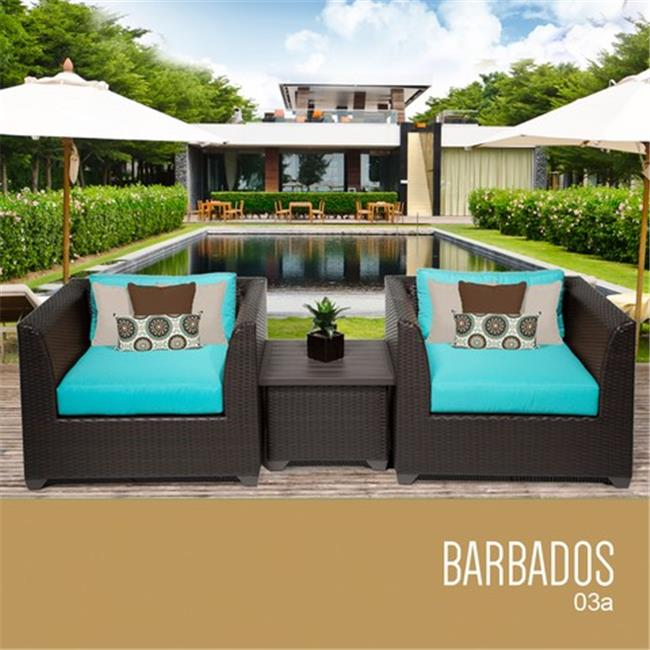 TKC Barbados 3 Piece Outdoor Wicker Patio Furniture Set