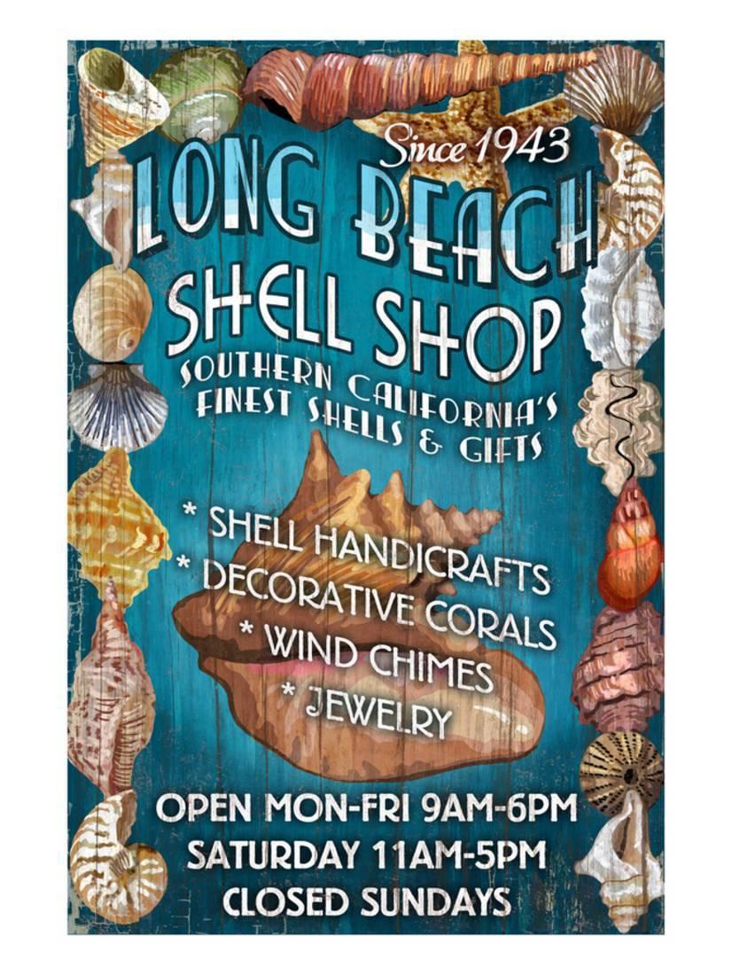 Long Beach, California Shell Shop Art Print By Lantern Press by Art.com