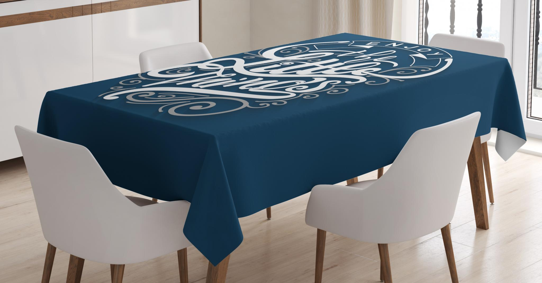 Navy Blue Dining Table: Enjoy The Little Things Tablecloth, Positive Phrase With