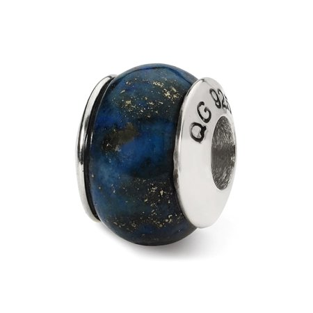 Lapis Stone Bead & Sterling Silver Charm, 11 x 8mm