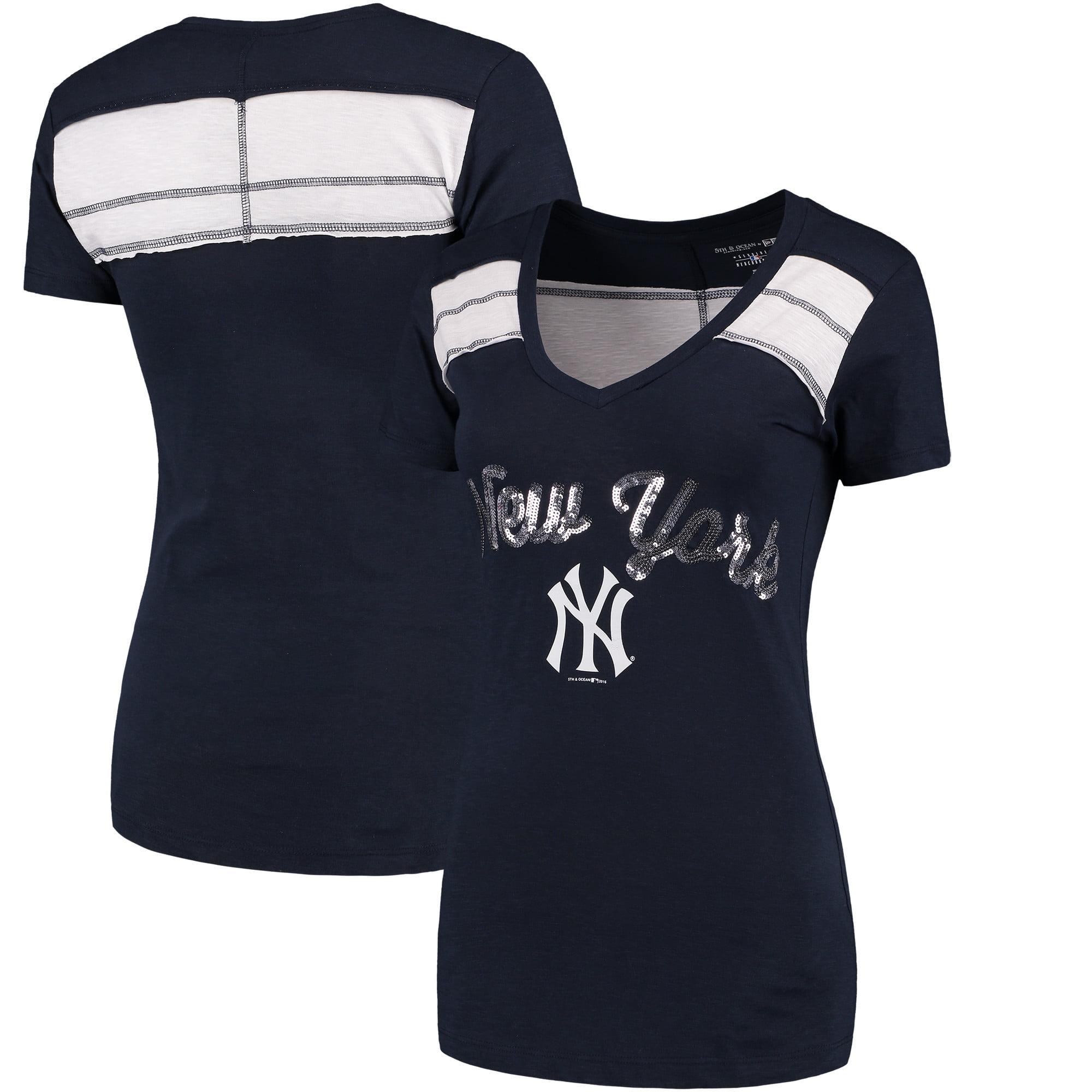 New York Yankees 5th & Ocean by New Era Women's MLB Slub V-Neck With Contrast Inserts T-Shirt - Heathered Navy