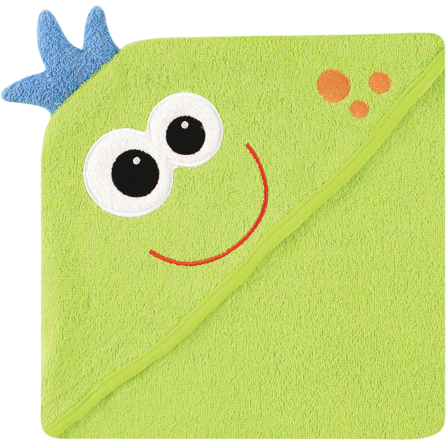 Luvable Friends Hooded Towel with Embroidery, Monster