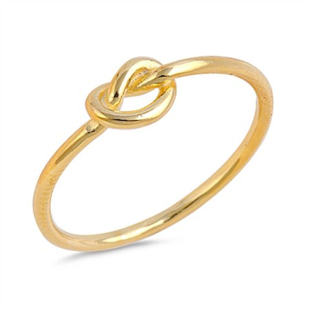 Infinity Love Knot Heart Yellow Gold .925 Sterling Silver Ring Sizes -