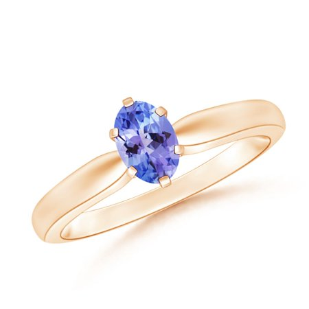 - December Birthstone Ring - Tapered Shank Oval Solitaire Tanzanite Ring in 14K Rose Gold (6x4mm Tanzanite) - SR0148T-RG-AAA-6x4-6.5