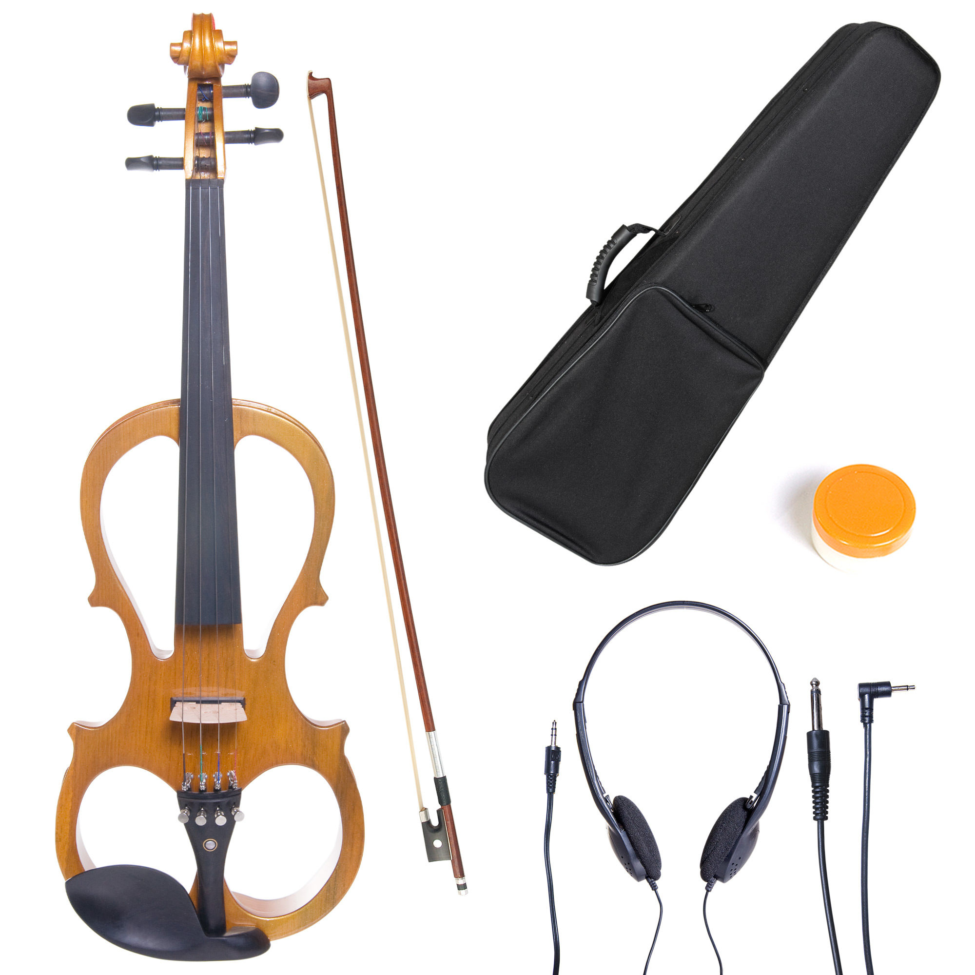 Cecilio 4/4 CEVN-1Y Solidwood Metallic Yellow Maple Electric/Silent Violin with Ebony Fittings-Full Size