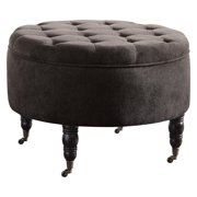 Elle Decor Quinn Round Tufted Ottoman with Storage and Casters