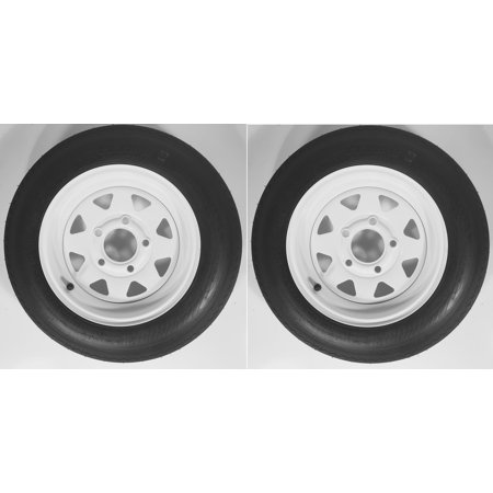 - Two Trailer Tires On Rims 4.80-12 480-12 4.80 X 12 LRB 5Lug Wheel White Spoke