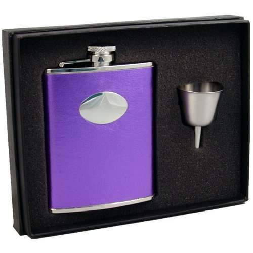 Visol Products Leather Stainless Steel Hip Flask Gift Set