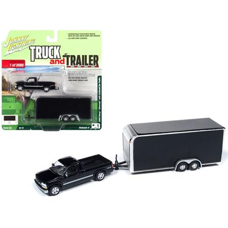 2000 Chevrolet Silverado Pickup Truck w/Enclosed Car Trailer Black Ltd Ed to 2,560 pcs 1/64 Diecast by Johnny Lightning