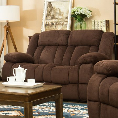 - Traditonal Brown Fabric Recliner Loveseat