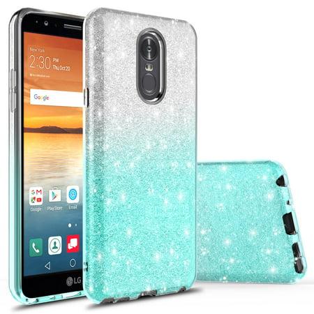 LG Stylo 4 Case, LG Stylo 4 Plus Case With Tempered Glass Screen Protector,  Kaesar Fashinon Slim Luxury Shinning Sparkle Bling Glitter Sparkle Case