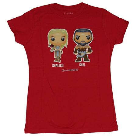 Game of Thrones Girls Juniors T-Shirt - Khaleesi & Khal Funko Pop Style Image