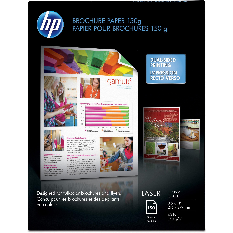 HP, HEWQ6611A, 40 lb Glossy Brochure Paper, 150 / Pack, White