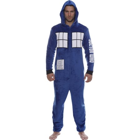 Doctor Who Tardis Hooded Onesie PJs, Loungewear Union Suit, Blue, Size: L/XL