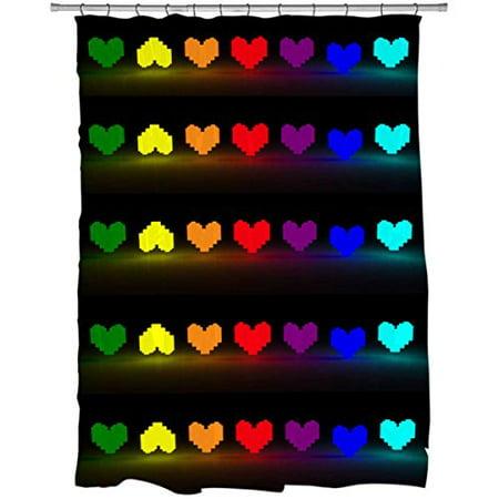 Hellodecor Undertale Hearts Shower Curtain Polyester Fabric Bathroom Decorative Curtain Size 60X72 Inches
