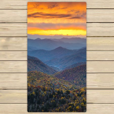 YKCG North Carolina Blue Ridge Parkway Mountains Sunset Scene Hand Towel Beach Towels Bath Shower Towel Bath Wrap For Home Outdoor Travel Use 30x56 inches
