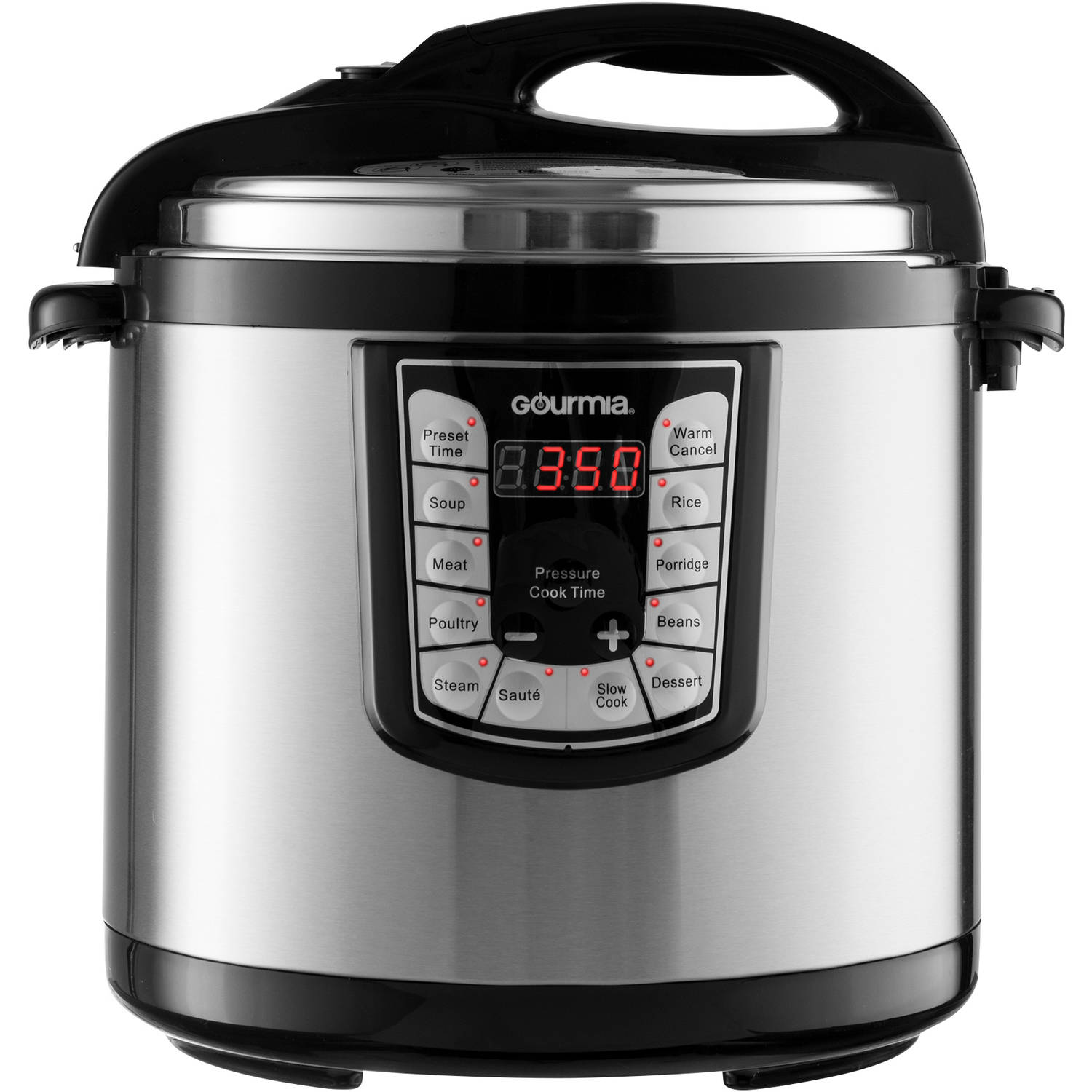Gourmia GPC1200 Stainless Steel 12-Quart Smart Pot Electric Digital Multifunction Pressure Cooker with 13 Programmable Cooking Modes