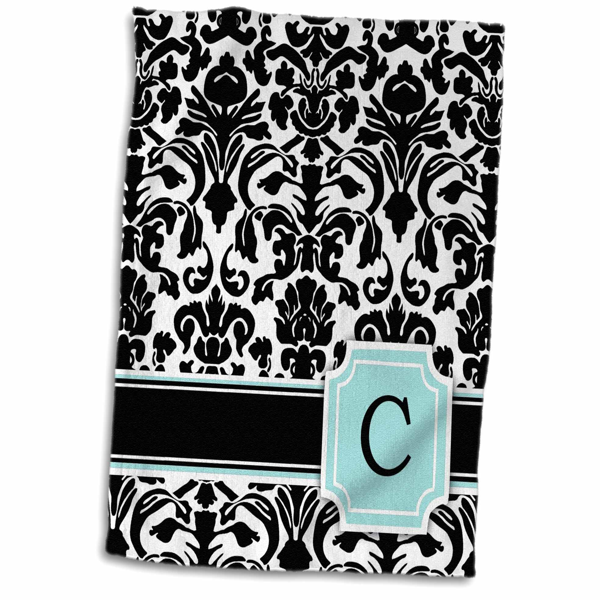3dRose Letter C personal monogrammed mint blue black and white damask pattern - classy personalized initial - Towel, 15 by 22-inch
