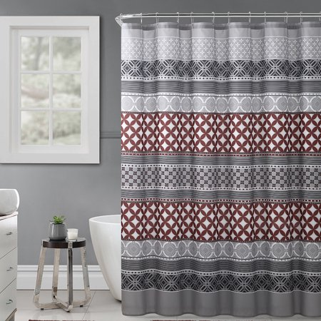 Gray, Rust and Black Fabric Shower Curtain with Printed Trendy Eclectic Geometrical Design, 72
