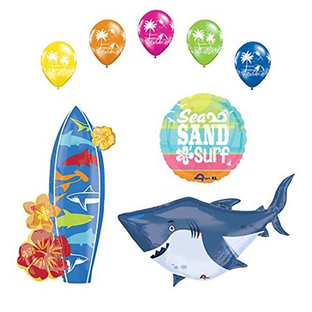Surfboard Decoration (Beach Luau Party Supplies Shark and Surfboard Balloon Bouquet)