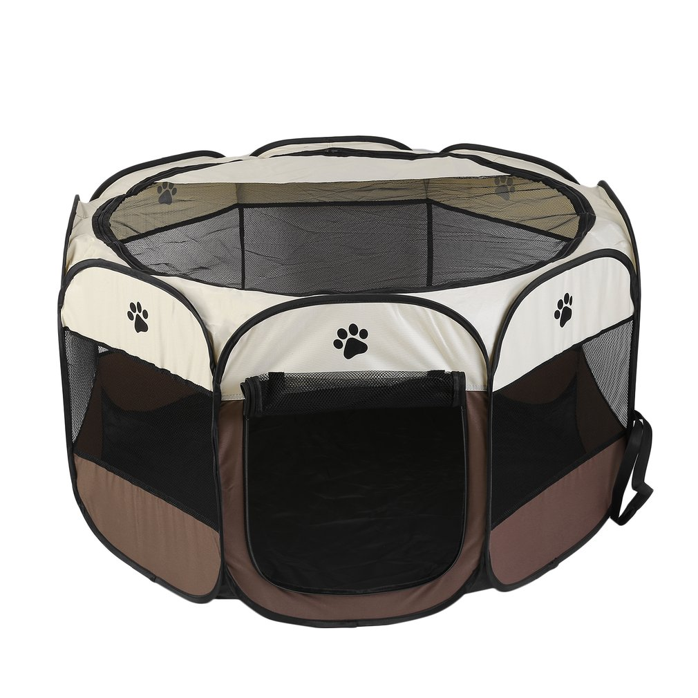 "Aleko DK-61-BG Octagon Pet Playpen Dog Puppy Exercise Kennel, Burgundy, 57"" Diameter X 24"" Height"