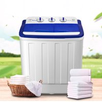Ktaxon Portable Compact Mini Twin Tub 16.6Lbs Washing Machine Washer Spin Dryer,Wash 10LBS+Spin 6.6LBS Capacity,White & Blue