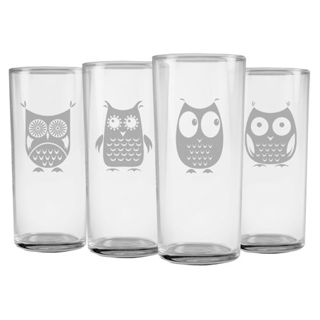 Susquehanna Glass Owl Collection Slim Highball Glasses (Set of 4)
