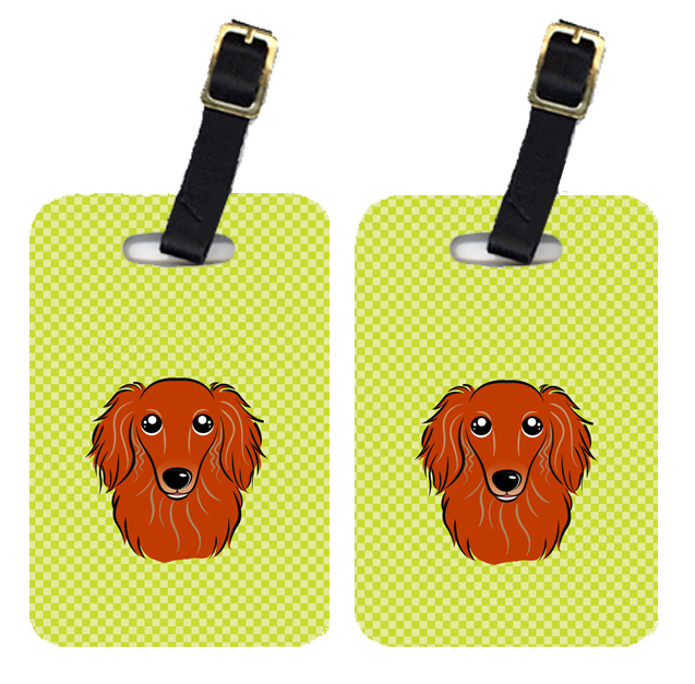 Pair of Checkerboard Lime Green Longhair Red Dachshund Luggage Tags BB1276BT