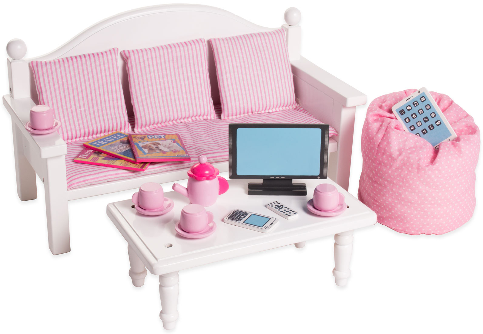 097ddd5399290 Eimmie 18 Inch Doll Furniture Sofa   Coffee Table with Accessories -  Walmart.com