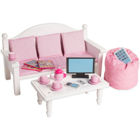 Eimmie 18 Inch Doll Furniture Sofa Coffee Table With Accessories
