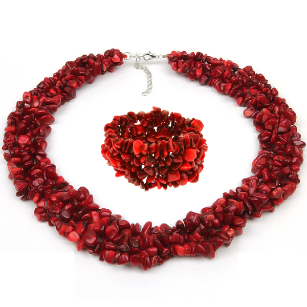 """18"""" Multi Strands Red Simulated Coral Chips Cluster Necklace and Bracelet Set by"""