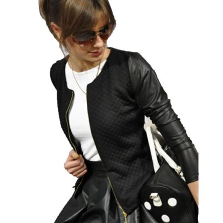 Womens PU Leather Zipper Collarless Coat Long Sleeve Jacket Winter Outwear Cardigan Slim Top