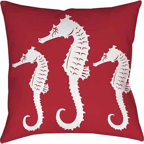 IDG Nautical Nonsense White Red Seahorses Indoor Pillow