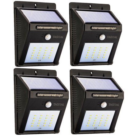 (Tagital Solar LED Lights 20 LED Wireless Waterproof Motion Sensor Outdoor Light for Patio, Deck, Yard, Garden with Motion Activated Auto On/Off (4-Pack))