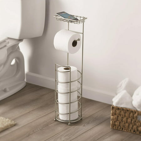 Better Home & Garden Cell Phone Toilet Paper Reserve, Satin Nickel (Wrought Iron Toilet Paper Stand)