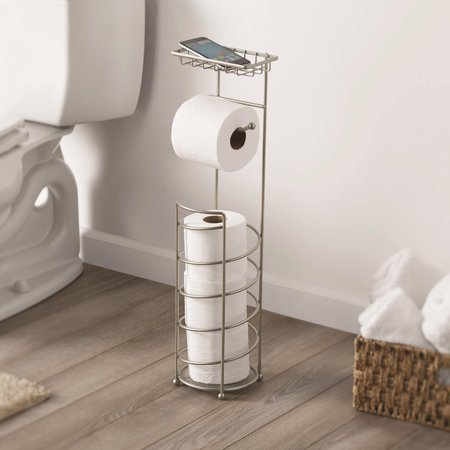 Better Home & Garden Cell Phone Toilet Paper Reserve, Satin Nickel Toilet Roll Holder Stand