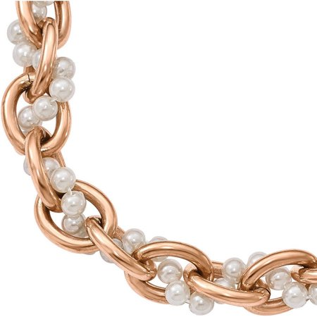 Faux Pearl Stainless Steel Polished Rose IP-Plated Bracelet, 1.5 Extender (Pearl Rose Gold Bracelet)
