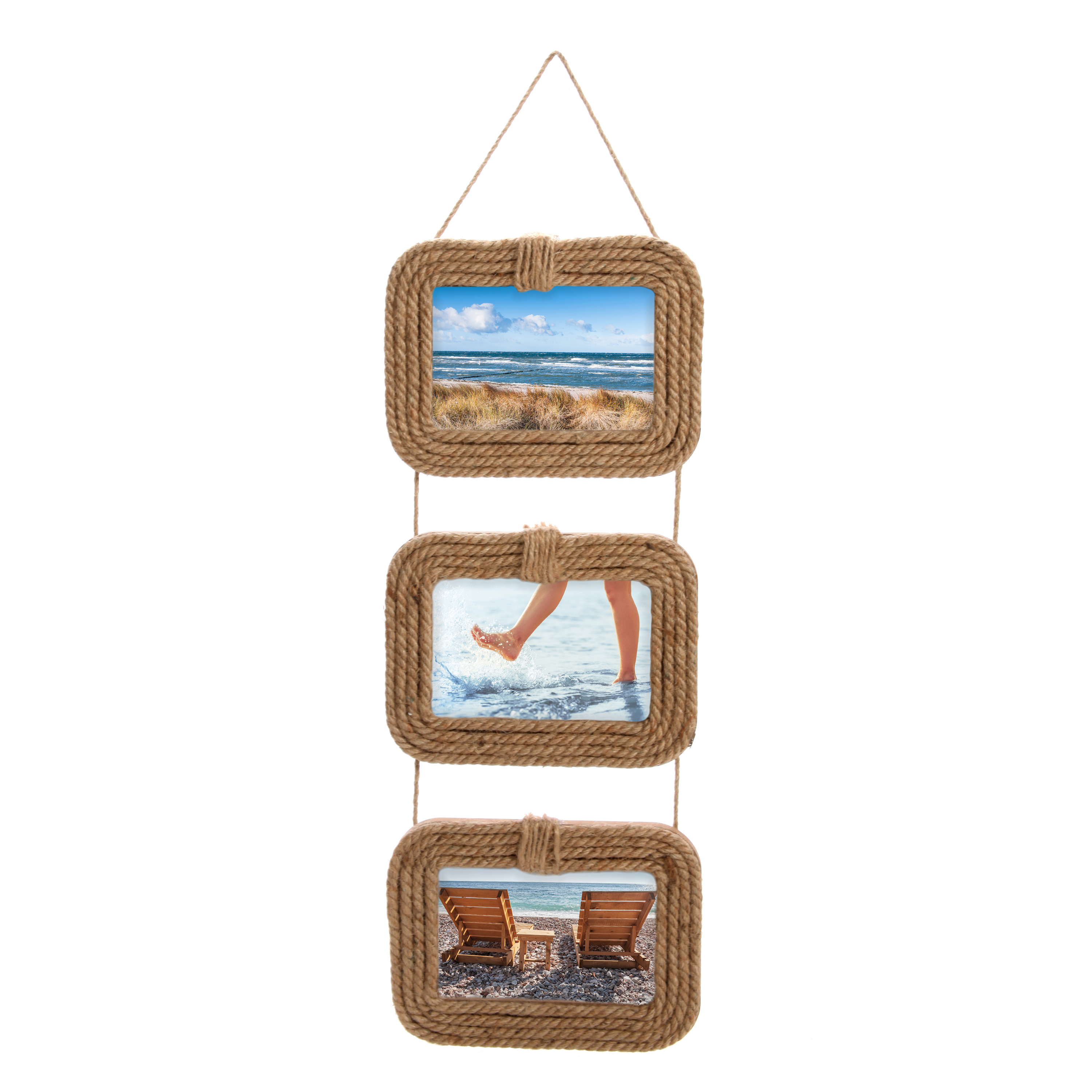 Mainstays Set of 3 Rope Wall Picture Frame, 4 x 6