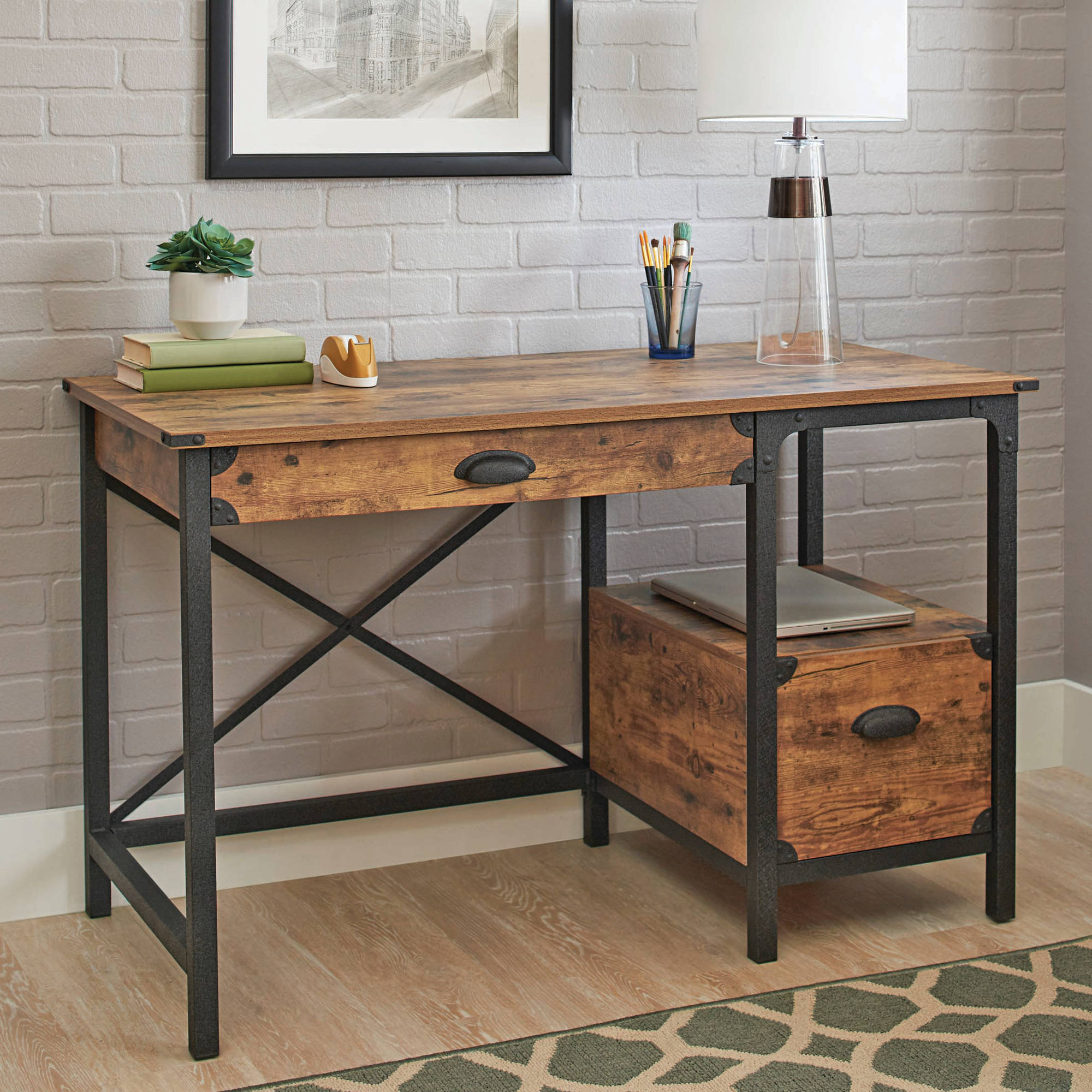 image country office better homes gardens rustic country desk weathered pine finish walmartcom