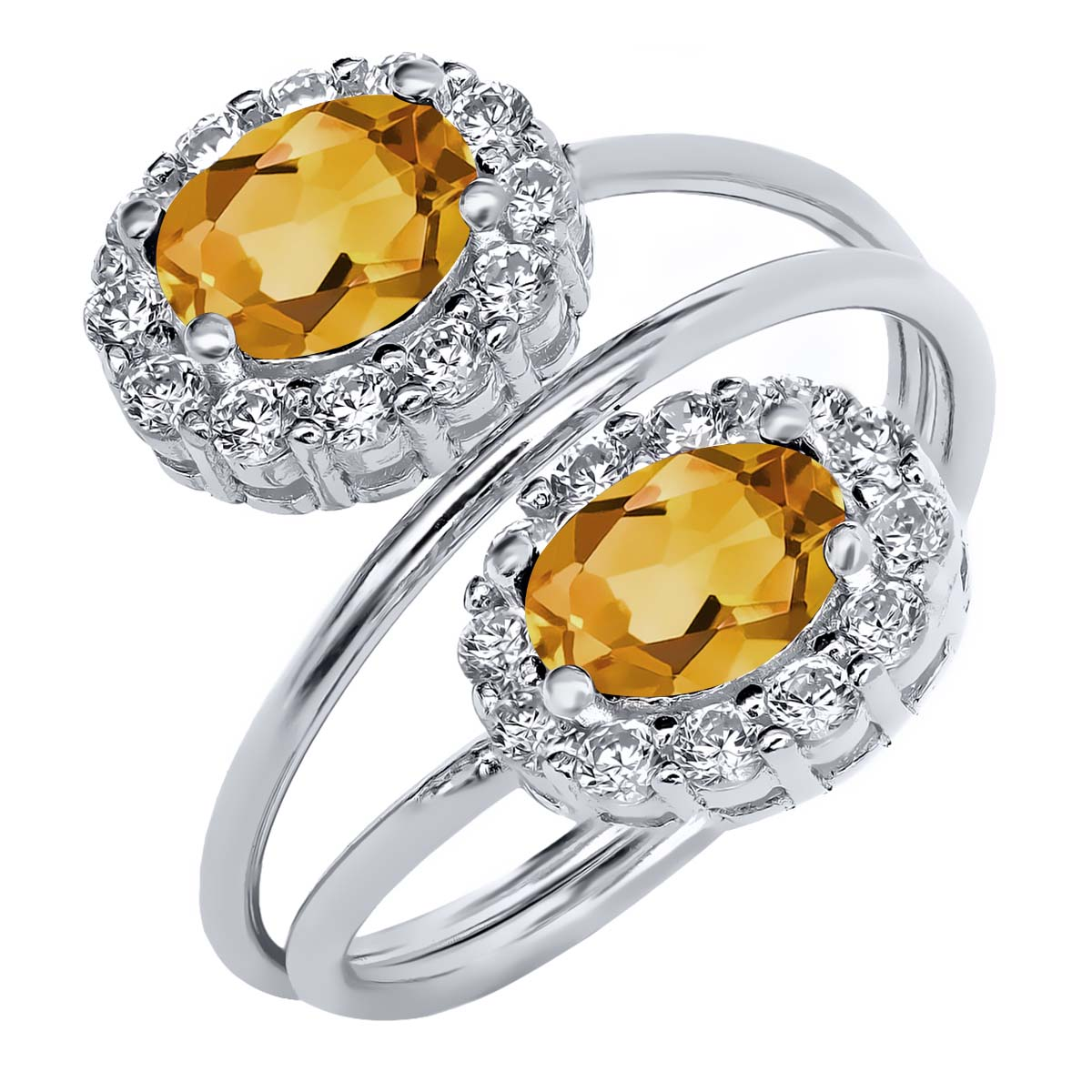 1.98 Ct Oval Yellow Citrine 925 Sterling Silver Ring
