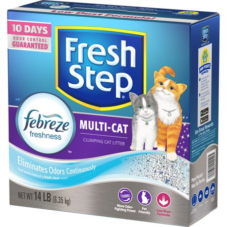 Fresh Step Multi-Cat Scented Litter with the Power of Febreze, Clumping Cat Litter, 14 -